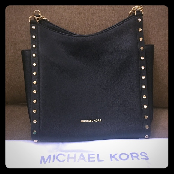 a4f938cc3aa8 Michael Kors Newbury Studded Leather Chain Tote